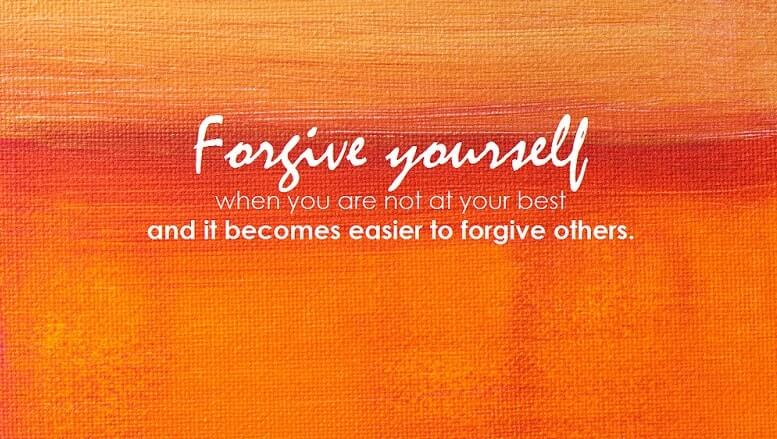 a forgive yourself quote on an orange background