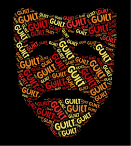 mask made of the word guilt
