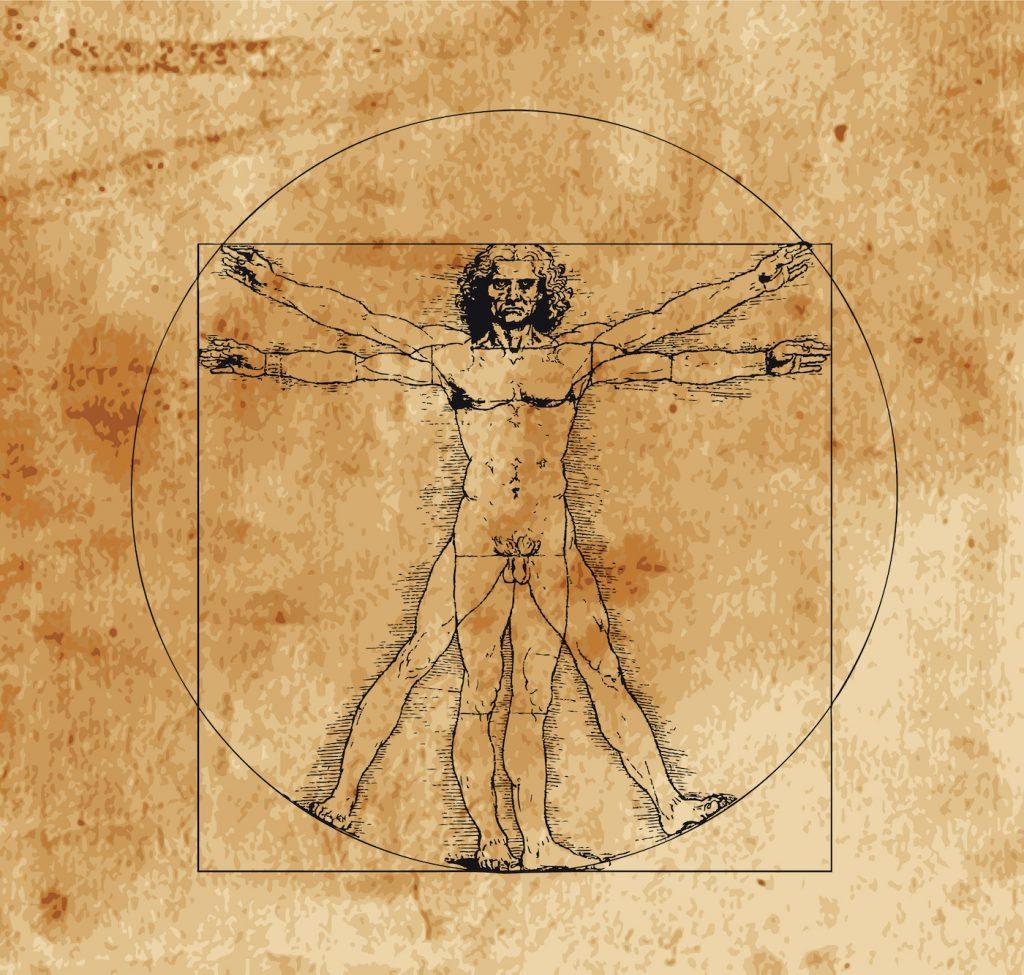 A highly stylized drawing of vitruvian man