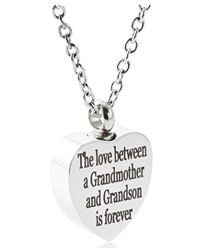 cremation ash jewelry forever love grandma&grandson urn necklace