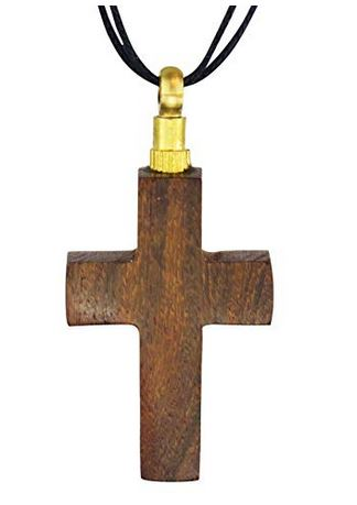 solid wood hand carved cross rosewood urn pendant  urn necklace